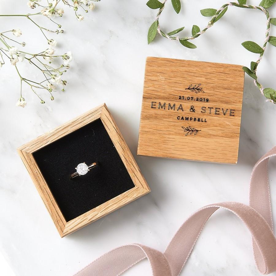 Wedding - Wooden Floral Wedding Ring Box