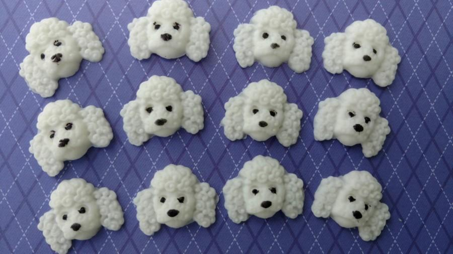 Wedding - Fondant Poodles Edible Cupcake Toppers Cake Decorations Set of 12 Dogs Puppies Animals Vet Children Kids Birthday Fur Baby Party Pets Fun