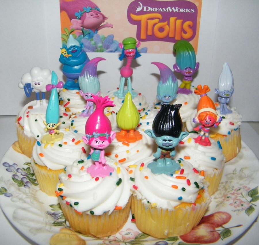 "Wedding - Dreamworks Trolls Movie Deluxe Cake Toppers Cup Cake Decorations Set of 12 with ""Treasure Troll"" Jewels"