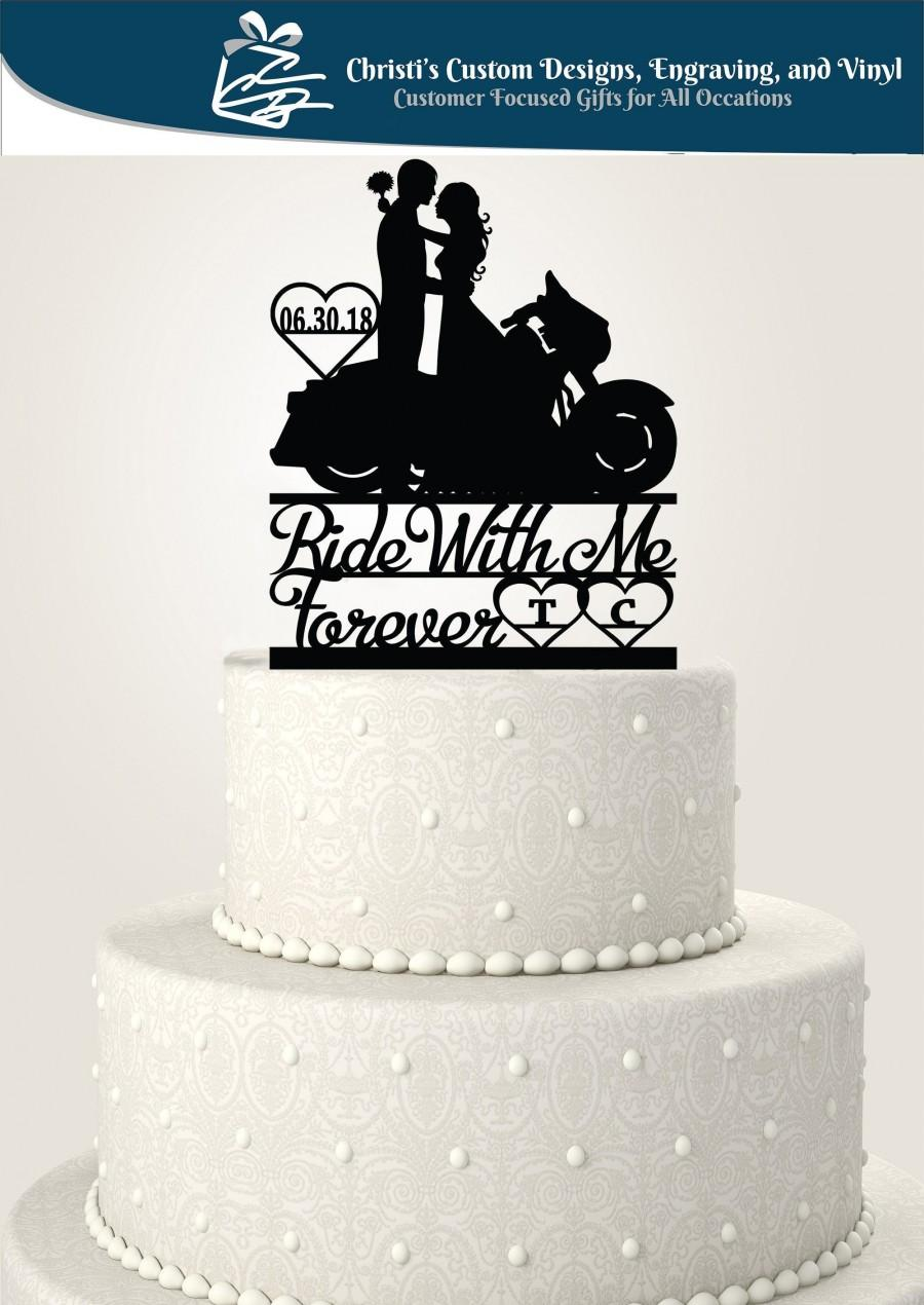 Wedding - Ride With Me Forever Street Glide Motorcycle Couple Cake Topper - Date/Initials - Bride and Groom -  Standard Acrylic - Cake Topper - 246b