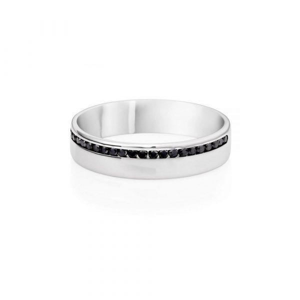 Wedding - 0.20 Ct Black Diamonds Male Wedding Ring In 14k White Gold