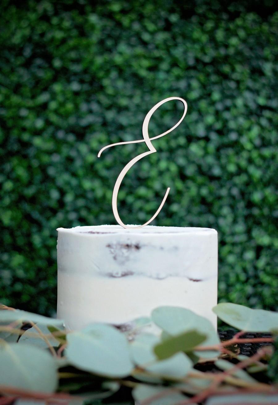 Wedding - Monogram Cake Topper, Letter Wooden Cake Topper, Script Letter, Cake Topper, Rustic Wedding Cake Topper, Custom Cake Topper