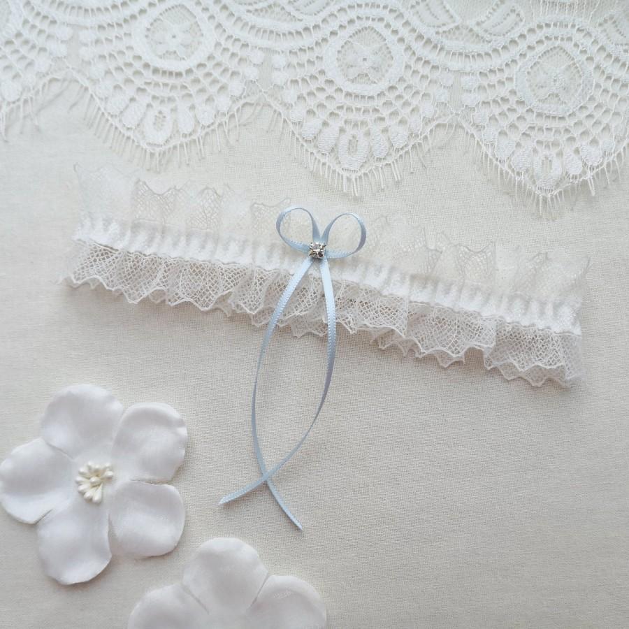 Hochzeit - Ivory lace wedding garter, something blue bridal garter, crystal garter
