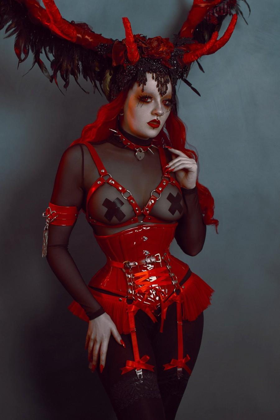 Wedding - Red Faux Leather Cage Harness Bra, Red O Ring Harness, Red Vegan Leather Harness Bra, Red BDSM Harness Bra, Red Burlesque Harness Bra