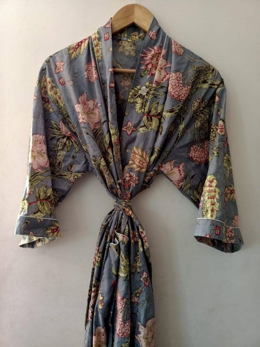 Hochzeit - Indian Floral Japanese kimono Robe Kimono cardigan Nights costume Body coverups Indian Handblock Cotton Kimono Robe For Women Bridesmaid Rob