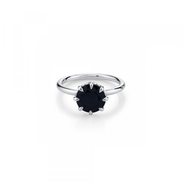 Wedding - 2 Carat Round Black Diamond Solitaire Engagement Ring