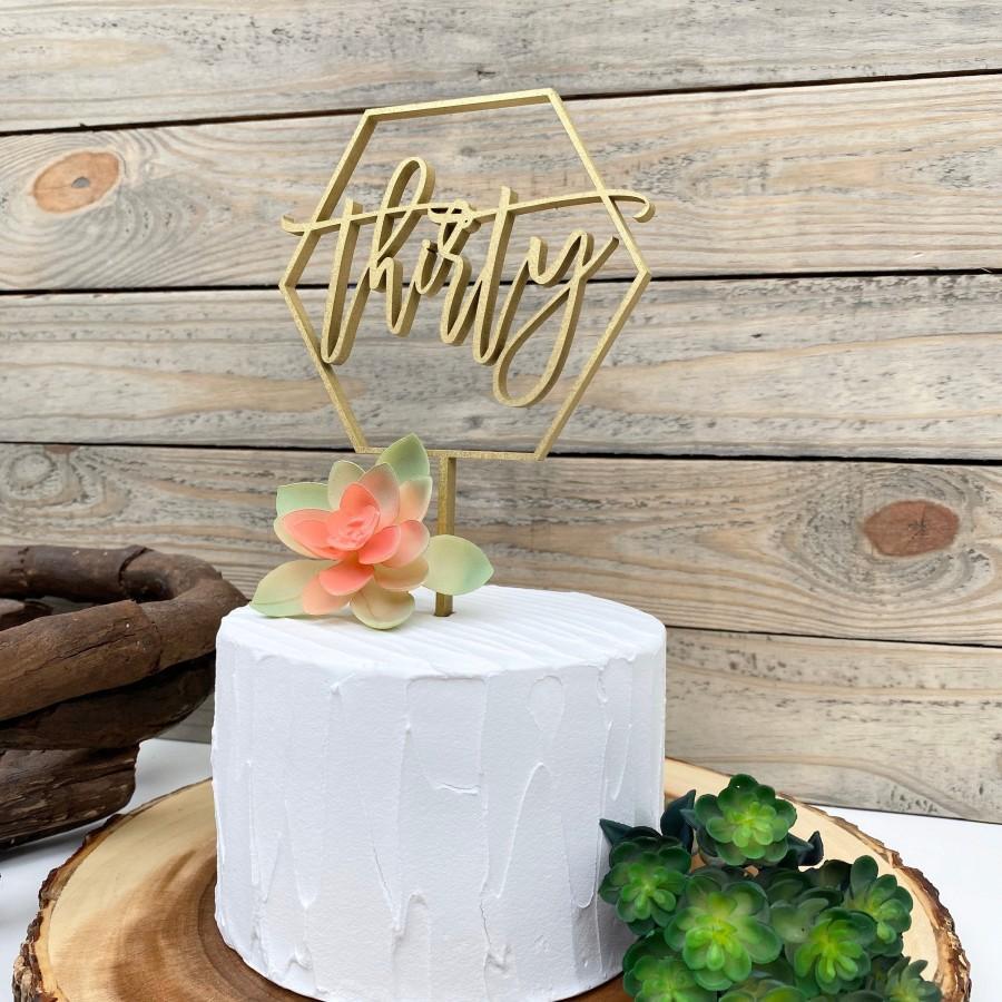 Wedding - Thirty Cake Topper, Rose Gold Glitter Number Topper, 30 Script Number Cake Topper, 30th Birthday Cake Topper, Hexagon Geometric Topper