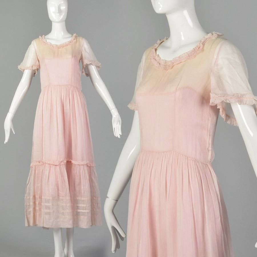Wedding - XS 1930s Sheer Pink Cotton Dress 30s Sheer Dress Vintage Tea Dress 1930s Maxi Dress 30s Pink Dress Lawn Dress