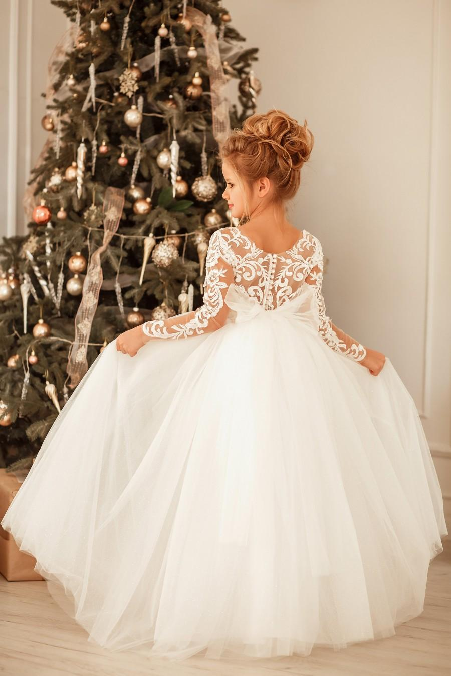 Wedding - Lace flower girl dress, Ivory tutu flower girl dress , Baby tulle dress, Ball gown girl dress, Toddler train dress, Communion girl dress