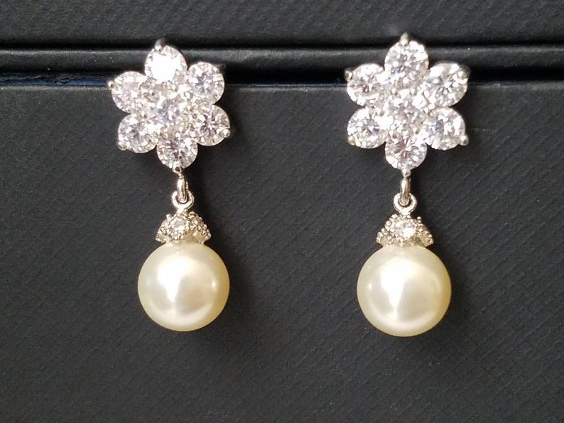 Wedding - Pearl Flower Earrings, Swarovski Ivory Pearl CZ Earrings, Wedding Bridesmaids Pearl Earrings Pearl Drop Earrings Wedding Ivory Pearl Jewelry