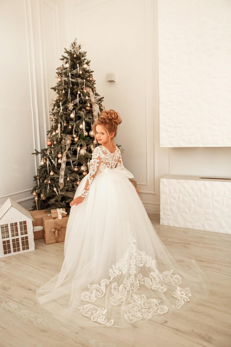 Wedding - Flower girl dress tulle, Lace girl dress, Long sleeve flower girl dress, Toddler train dress, Tutu girl dress, Ball gown girl dress