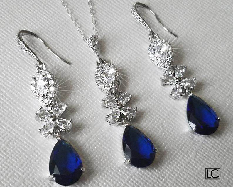 Wedding - Navy Blue Crystal Wedding Jewelry Set, Sapphire Teardrop Chandelier Earrings, Blue Crystal Pendant, Navy Cubic Zirconia Bridal Jewelry Set