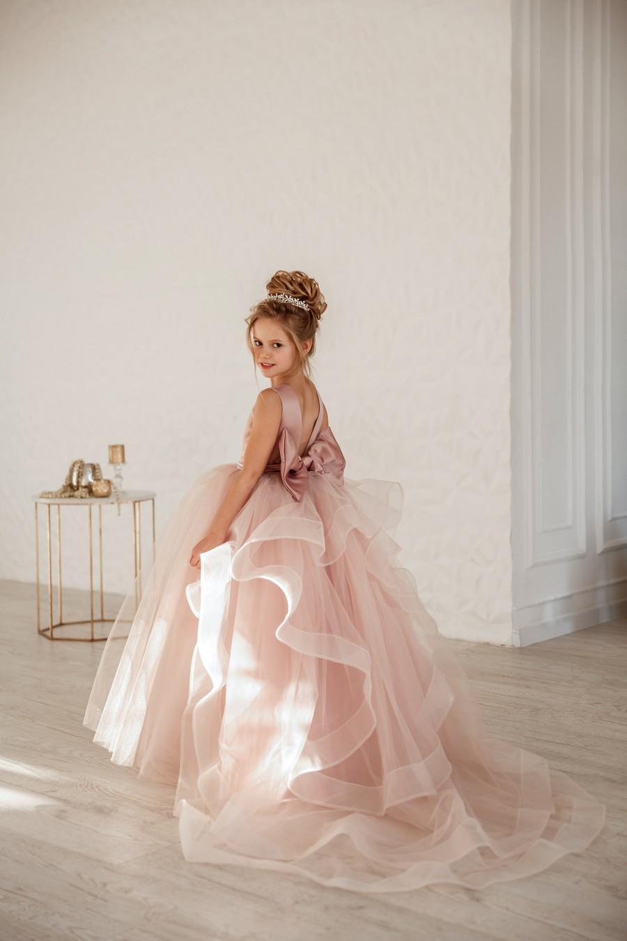 Wedding - Girl wedding dress  Blush flower girl dress  Princess dress Dusty rose flower girl dress Satin flower girl dress Toddler dresses