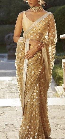 Wedding - Champagne colour heavy embroidered evening wear indian designer saree/ Indian wedding hand embroidered sari fashion