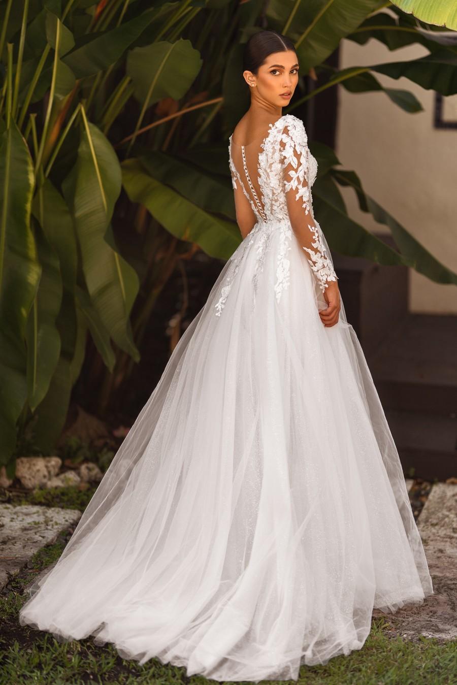 Wedding - Long sleeve wedding dress, A-line bridal gown, Lace wedding dress, Ivory bridal dress, Maxi wedding dress, Split dress, Romantic tulle dress