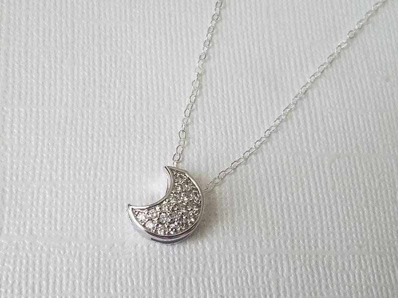 Wedding - Crescent Moon Cubic Zirconia Necklace, Moon Silver Necklace, Celestial Necklace, Crescent Moon Charm Bridal Necklace, Moon Pendant