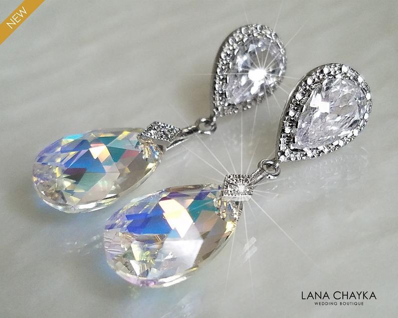 Wedding - Aurora Borealis Crystal Earrings, Swarovski AB Crystal Silver Earrings, Wedding Bridal Crystal Earrings, Rainbow Teardrop Dangle Earrings