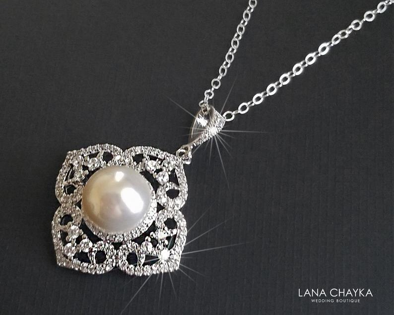 Wedding - Pearl Bridal Necklace, White Pearl Wedding Pendant, Bridal Wedding Jewelry, Pearl Silver Necklace, Filigree Pearl Necklace, Prom Necklace