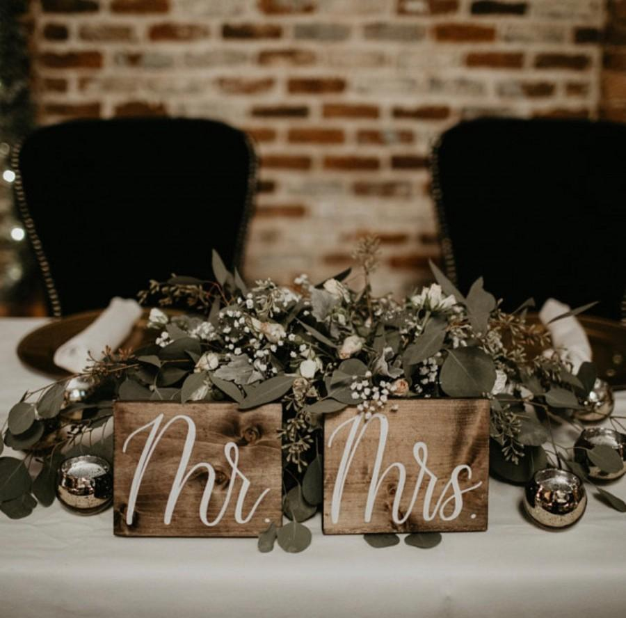 Wedding - Mr and Mrs Sweetheart Table Signs, Wooden Wedding Signs, Rustic Wedding Signs, Wedding Table Wood Signs