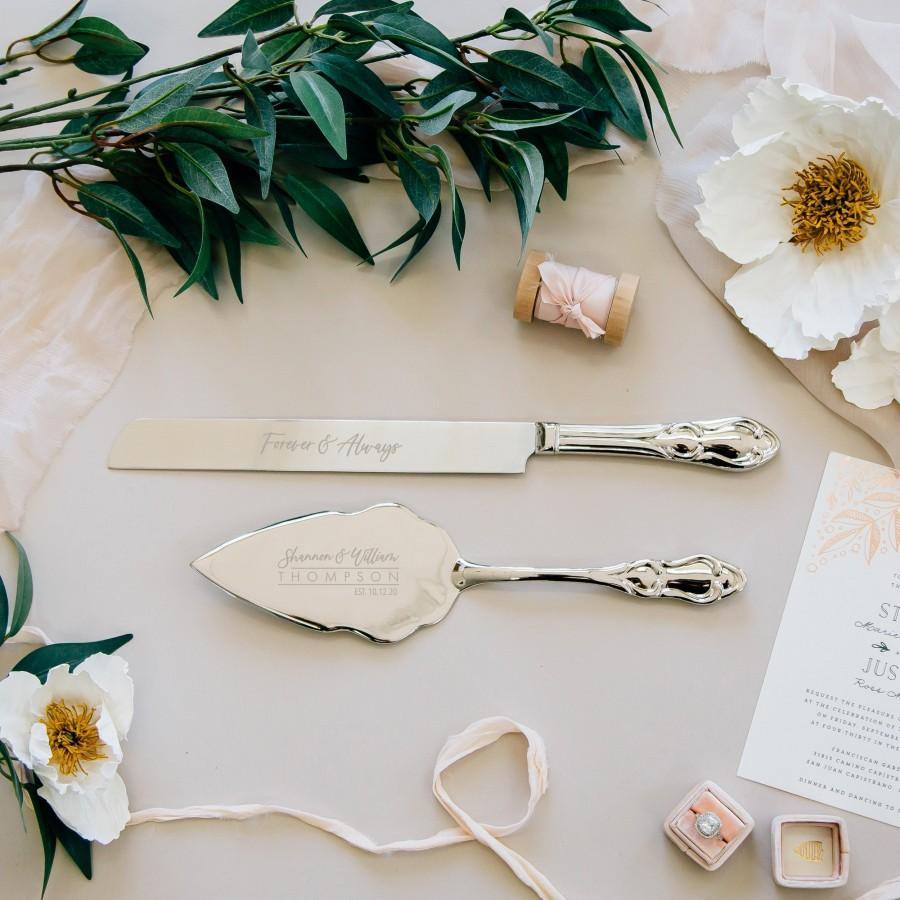 Wedding - Personalized Silver Wedding Cake Knife and Server Set (2pc) Engraved Classic Silver Serving Set, Custom Wedding Gift, Engagement Gift