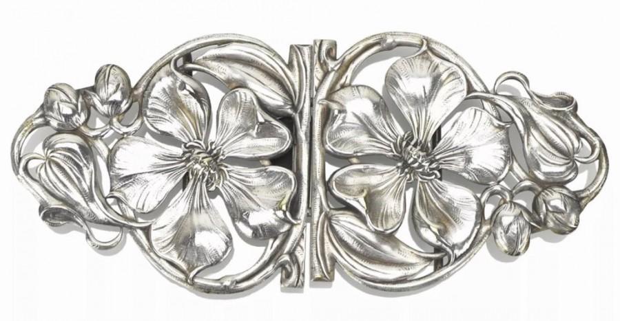 Wedding - Magnolia Blossom Belt Buckle in Sterling Silver