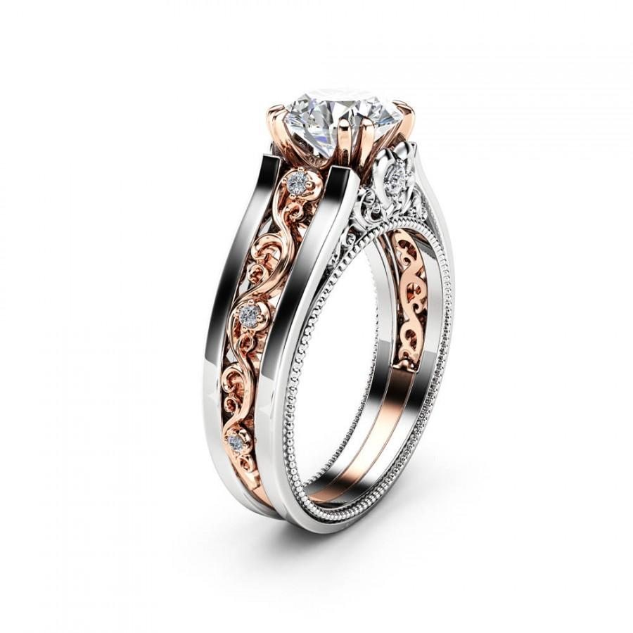 Wedding - Antique Engagement Ring 14K Two Tone Gold Moissanite Ring Forever One Moissanite Engagement Ring