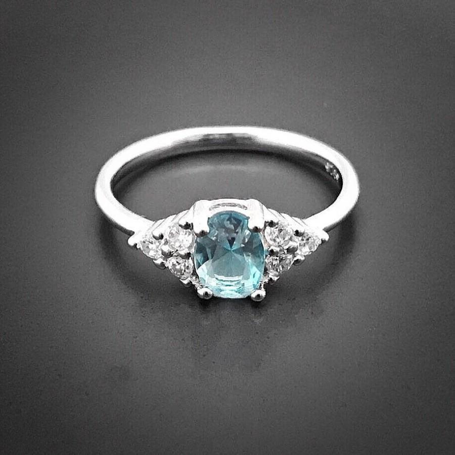 Wedding - GRACE Aquamarine Engagement Ring, Aquamarine Ring, Diamond Ring Aquamarine Jewellery, Promise Ring, Wedding Anniversary, March birthstone
