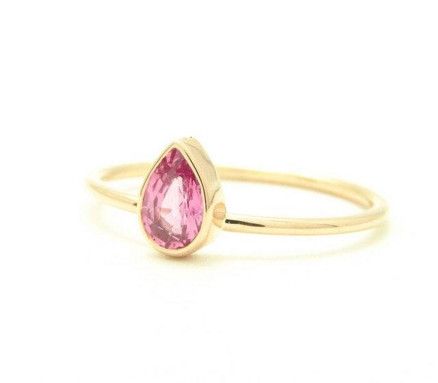 Wedding - Gemstone Engagement Ring - Sapphire Ring - Sapphire Engagement Ring - 14k Gold - Pear Engagement Ring