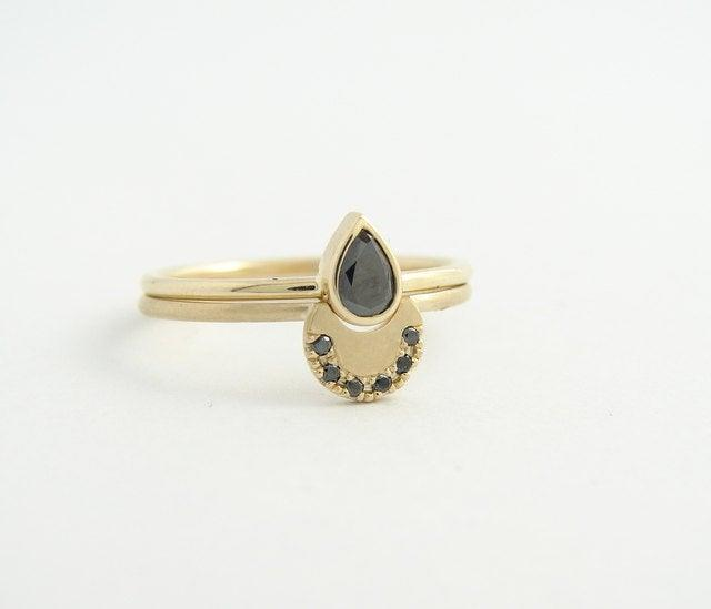 Wedding - Diamond Wedding Set, Diamond Ring, Pear Diamond Ring, Black Diamond Ring, Diamond Engagement Ring, Gold Diamond Ring, Stacking Diamond Ring