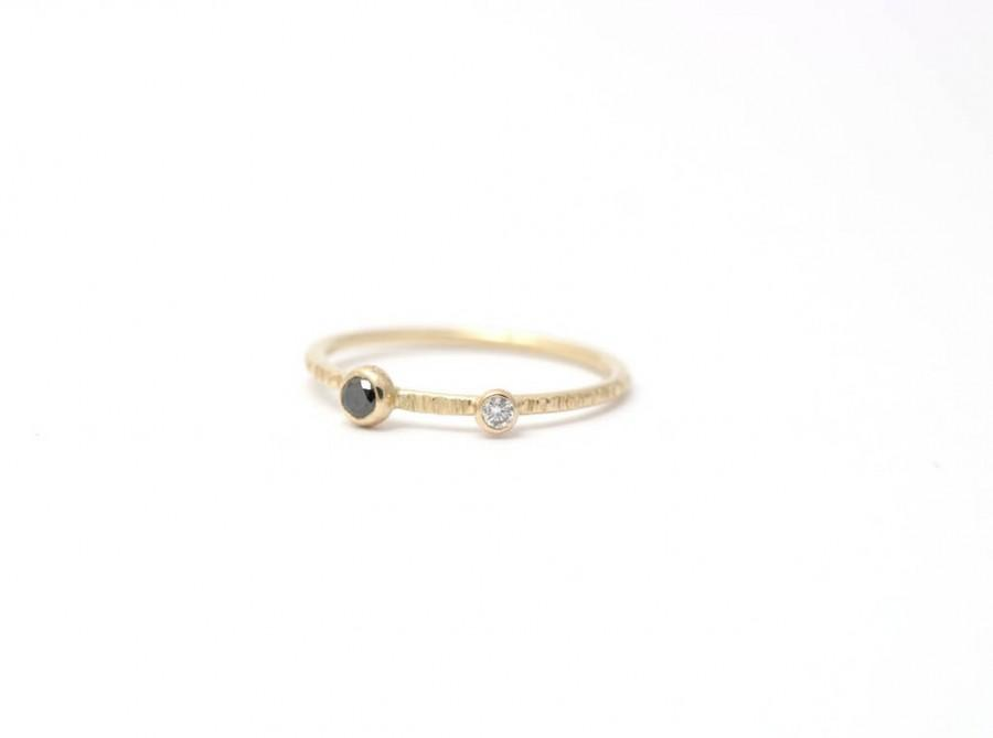 Wedding - Dual Diamond Ring, Thin Diamond Ring, Hammered Diamond Ring, Gold Diamond Ring, Engagement Diamond Ring, Simple Engagement Ring, Gold Ring