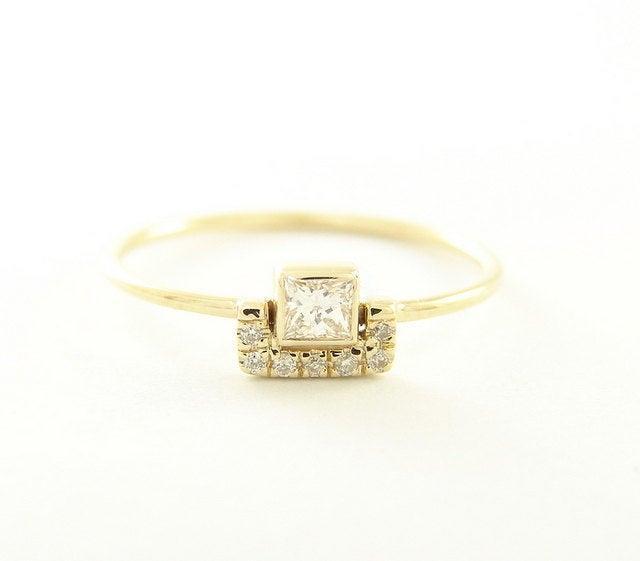 Wedding - Square Diamond & Pave Diamonds Ring - 14k Gold Diamond ring - Diamond Engagement Ring