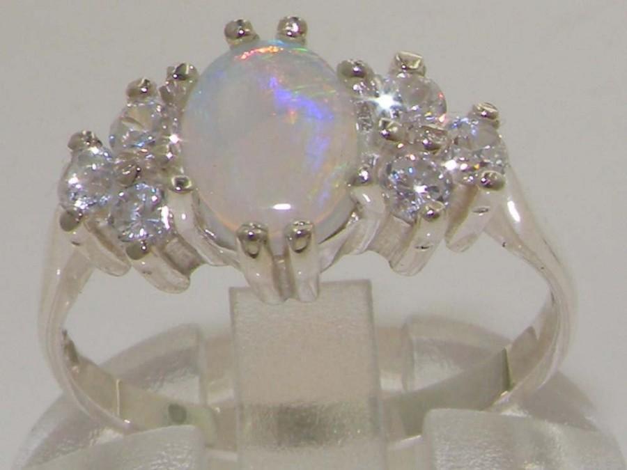 Wedding - Classic 14K White Gold Natural Australian Opal & 0.36ct 1/3ct Diamond Engagement Ring - Customize in Platinum,9K, 10K, 14K, 18K Gold
