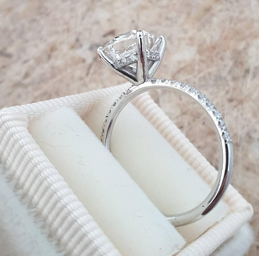 Wedding - 1.80 Carat Cushion Diamond Ring,Elongated Cushion Ring Diamond Ring, Engagement Ring, Diamond Engagement  Ring, Cushion Cut Diamond