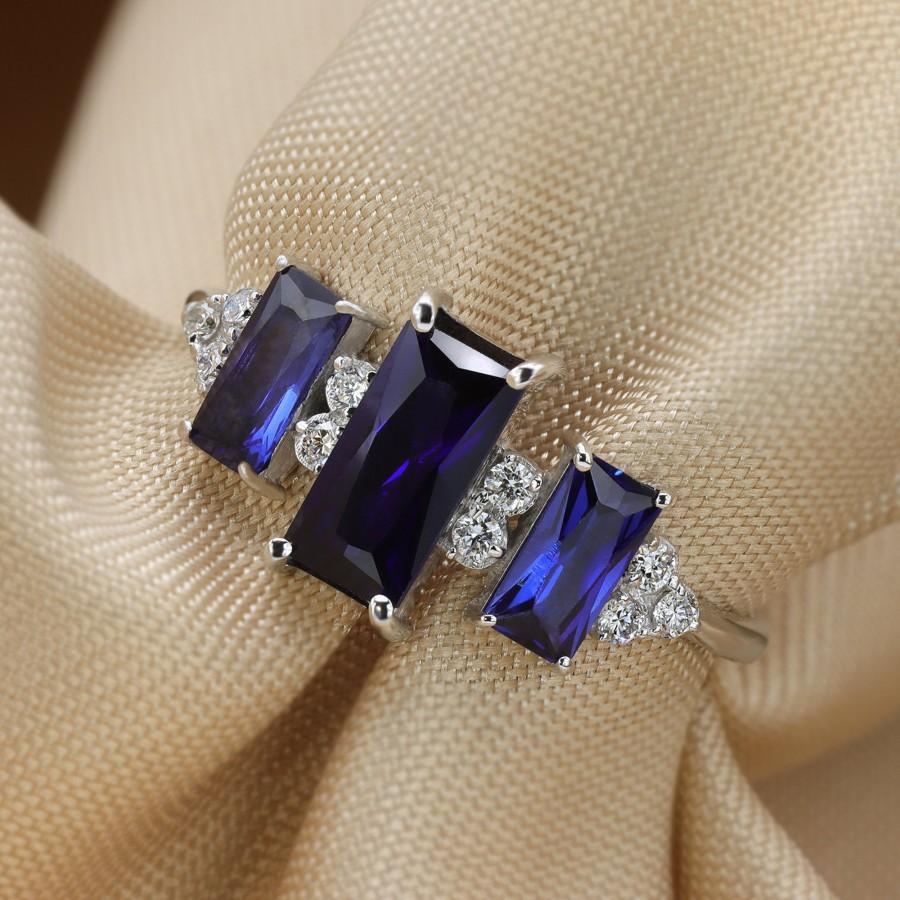 Wedding - Sapphire ring, rose gold ring, engagement ring, vintage ring, fan ring, ring for women, Diamond ring, 14K gold ring, gift for her