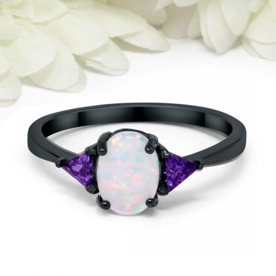 Wedding - Fashion Ring Oval Lab Created White Opal Triangle Simulated Purple Amethyst Black Gold PL 925 Sterling Silver Round