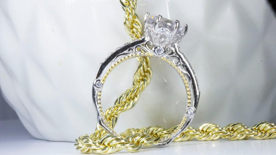 Wedding - 2 CT Moissanite Round Vintage Solitaire Engagement Ring in Platinum Plated Sterling Silver