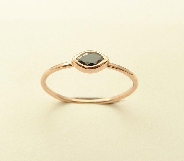 Свадьба - Diamond Ring, Marquise Black Diamond Ring, Black Stone Ring, 14kt Rose Gold Ring,Thin Gold Engagement Ring, Stacking Gold Diamond Ring, Ring