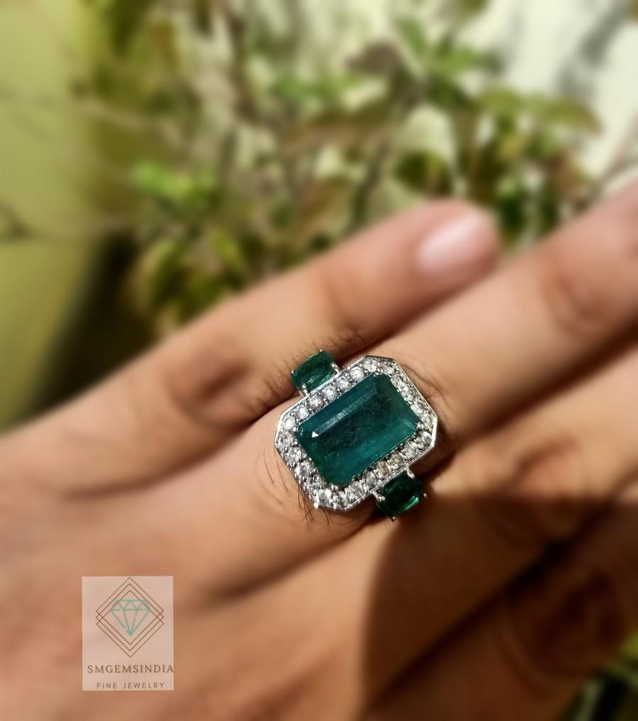 Wedding - 18k White Gold Natural Emerald Engagement Ring / 18k Solid Emerald And Diamond Ring / Wedding Ring For Women / Christmas Gift Ring