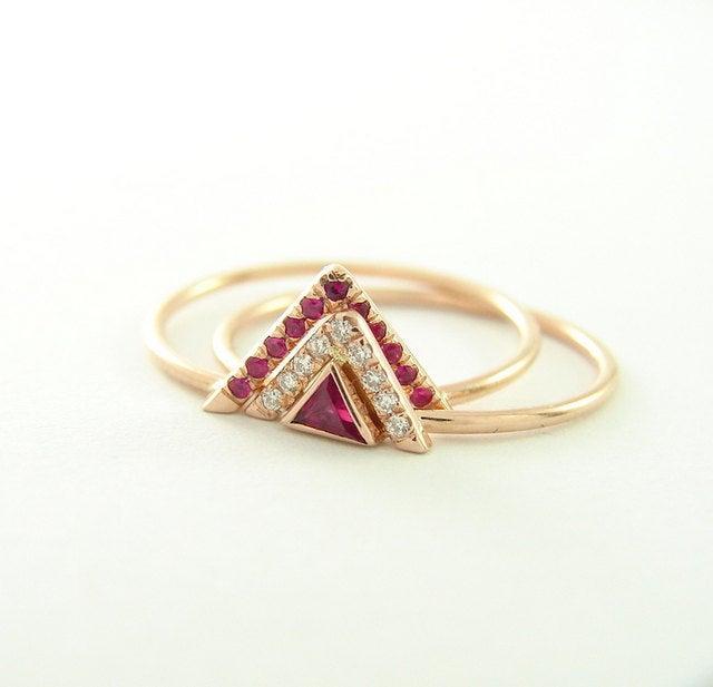 Wedding - Ruby and Diamond Wedding Set - Unique Wedding Set - 14k Gold Ring - Ruby Diamond Ring