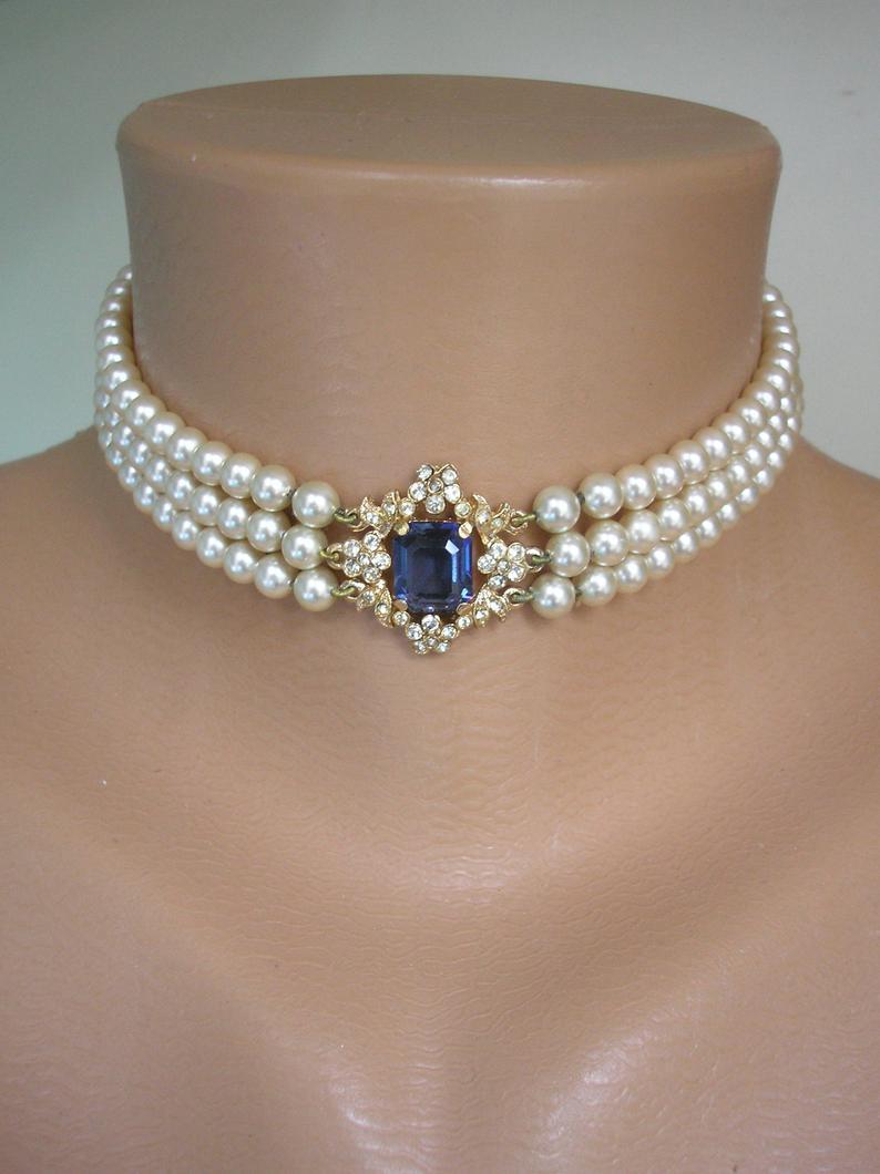 Wedding - Vintage Pearl Choker By ROSITA, Vintage Pearls, Pearl And Montana Sapphire Choker, 3 Strand Pearls, Cream Pearls, Bridal Pearls, Bridgerton