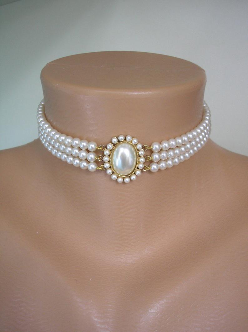Wedding - Lotus Pearl Choker, Vintage Pearls, Lotus Classic Pearls, 3 Strand Pearl Choker, Ivory Pearls, Bridal Pearls, Vintage Wedding, Bridal Choker