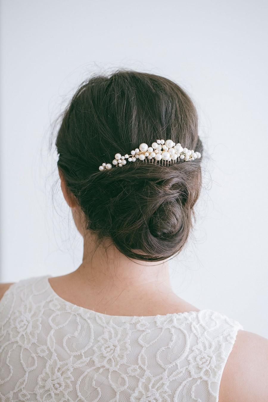 Wedding - Bridal Gold Pearl Hair Comb, Wedding Hair Comb, Bridal Hair Comb, Wedding Back Comb, Veil Decoration, RosyRoseStudio