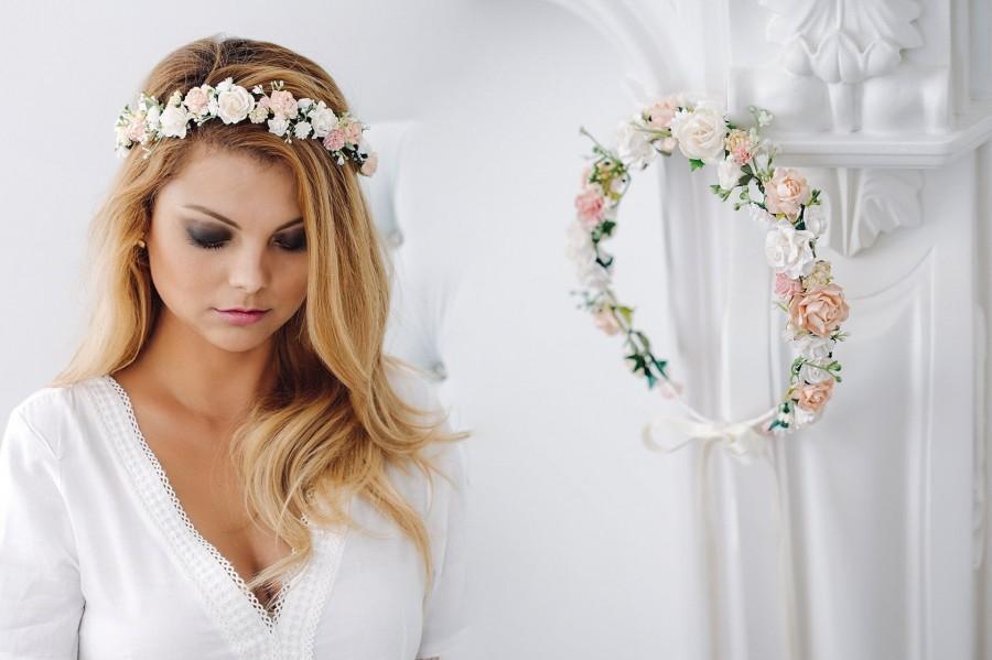 Wedding - Bridal Flower Crown, Vintagre, Fairy Crown,Floral garland, Festival or Bridal Hair Wreath, Hair Flowers, Photo Shooting Hair band Headband