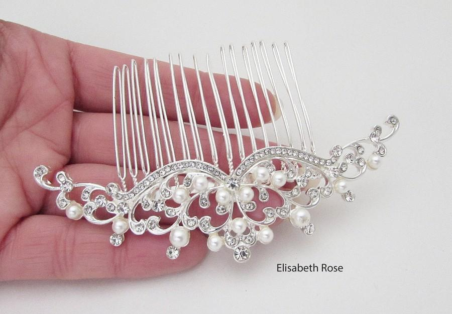 Wedding - White Pearl Wedding Hair Comb, Princess Style Pearl Hair Jewellery for Wedding, Large Hair Comb for Bride, Wedding Comb for Bride
