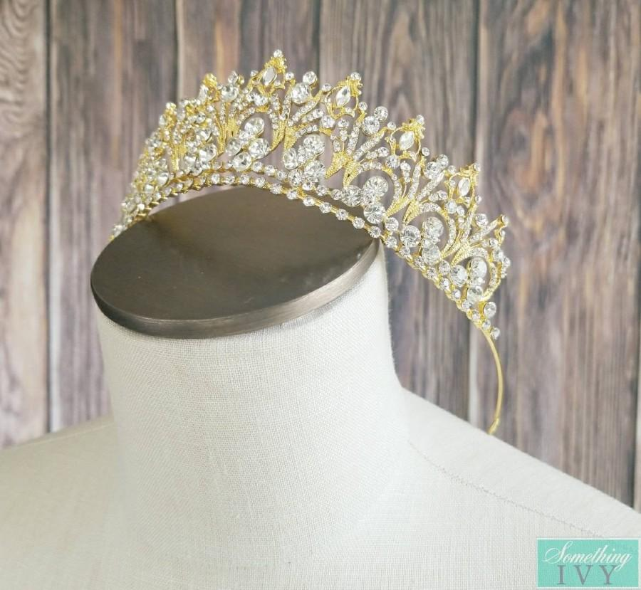 "Wedding - 2"" Gold Tiara, Gold Crystal Tiara, Gold Headband, Gold Tiaras, Gold Rhinestone Tiaras, Wedding Gold Crowns, Sweet 16 Crowns"