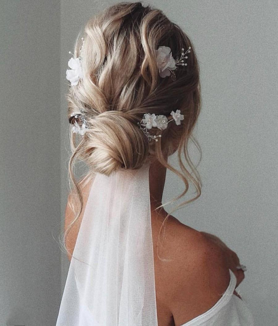 Wedding - Flower hair pins Bridal hair pins Boho hair pins Rose gold hair pins Bridal hair piece Wedding hair pins Floral hair pins Bride hair piece