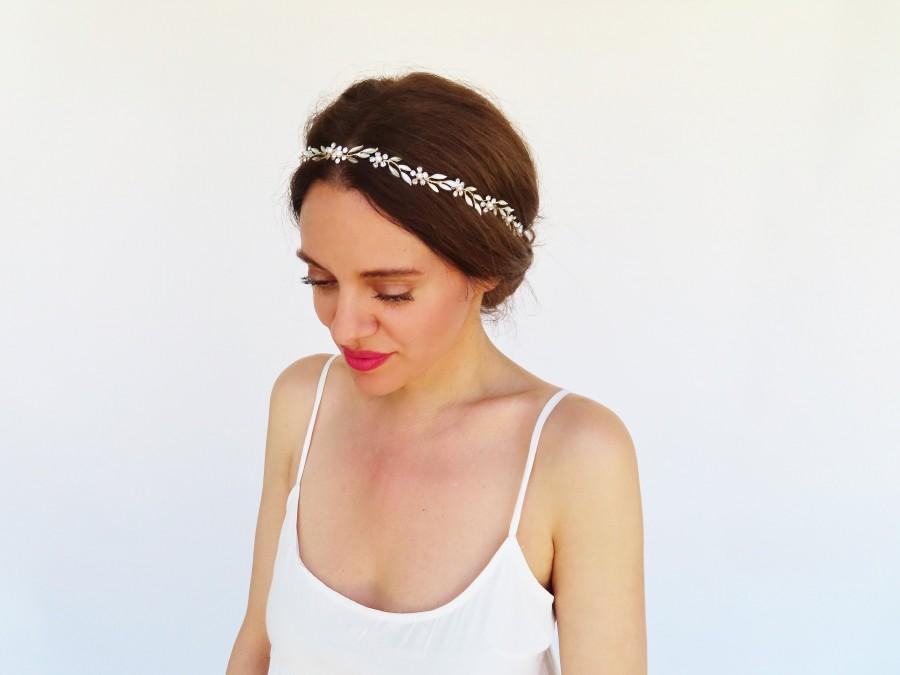 Wedding - Flower Hair Vine Floral Headband Wedding Headpiece Bridal Hair Vine Gold Head Piece With Pearls Bride Hair Jewelry Rhinestone Accessory