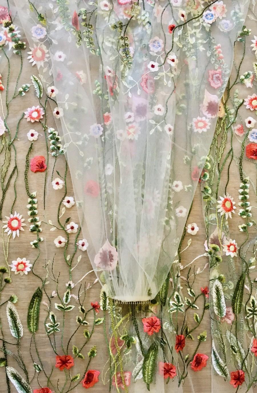 Свадьба - IRIS - Floral embroidered, secret garden bohemian wedding veil. Handmade to order. Flower veil.