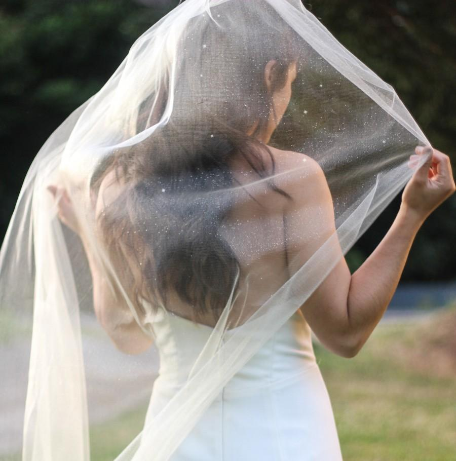 زفاف - Glittery Single Layer Soft Flowy Wedding Veil