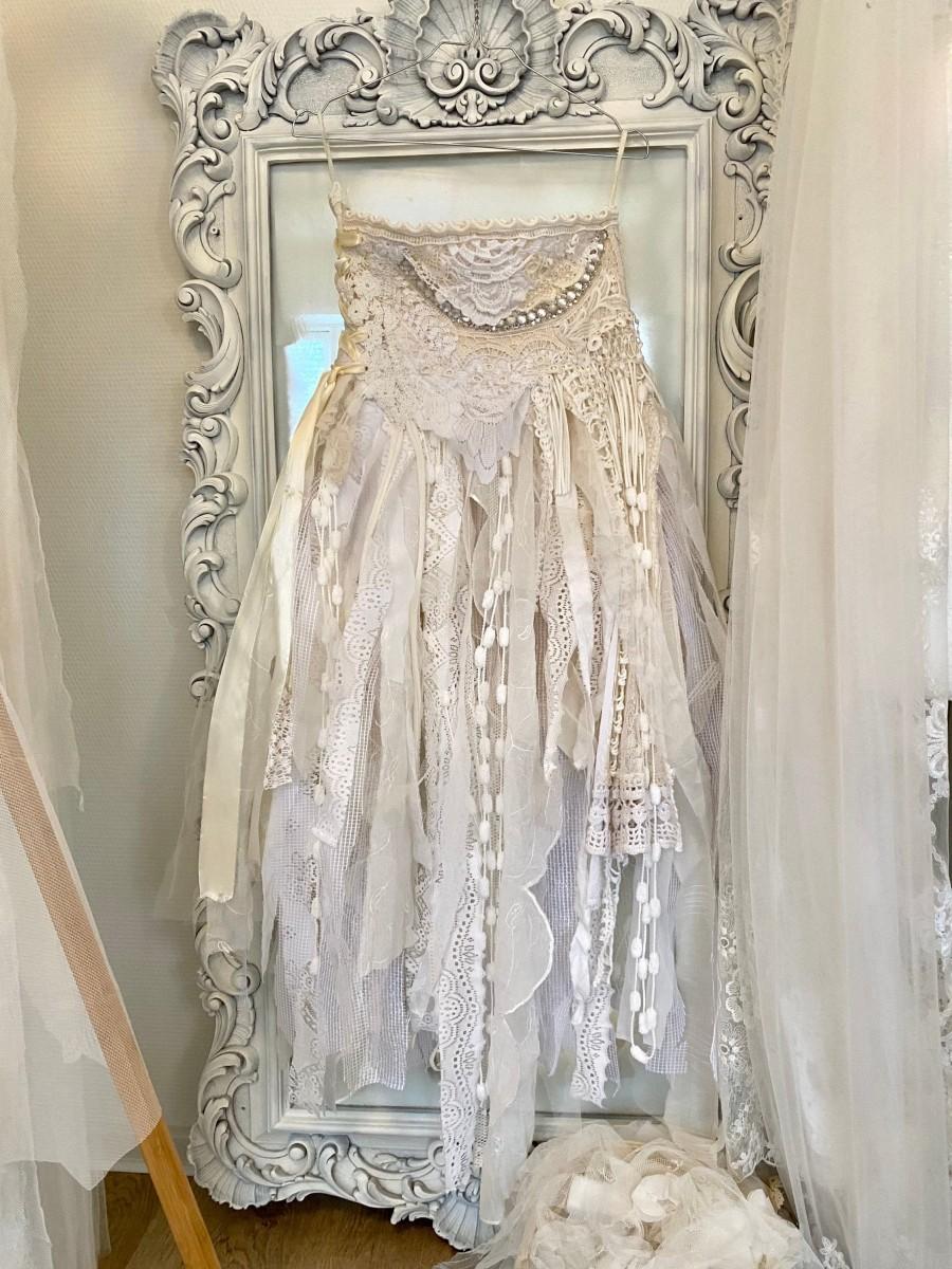 زفاف - White wedding skirt,fairy airy trashed skirt,ragged antique fabric, RawRags wedding ,white and cream